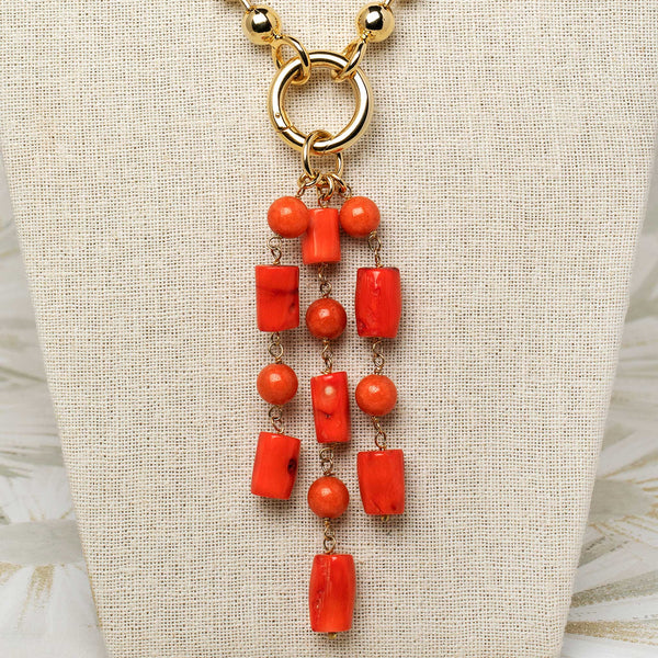 Beaded Tassel Pendant in Coral