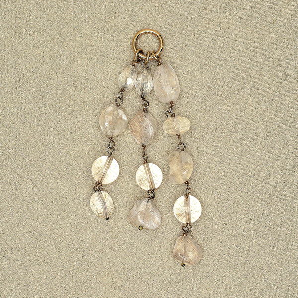 Beaded Tassel Pendant in Clear