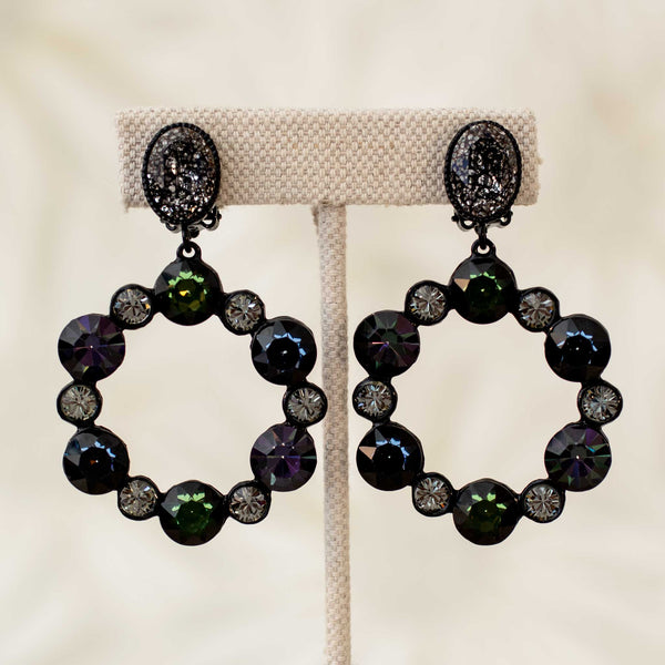Gypsy Circle Drop Earrings in Black Diamond