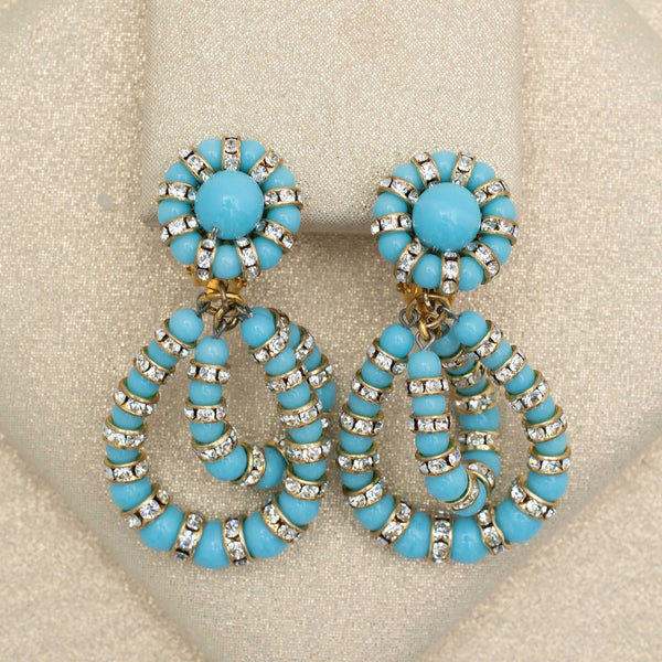 Double Helix Earrings in Turquoise