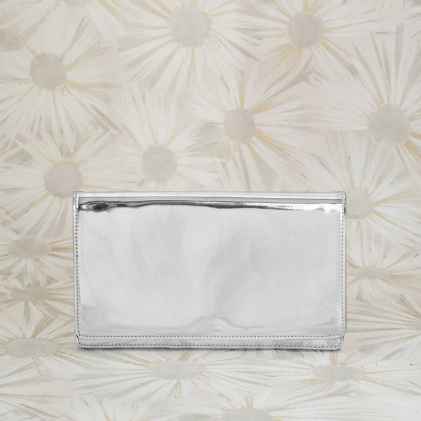 Patent Leather Clutch in Silver