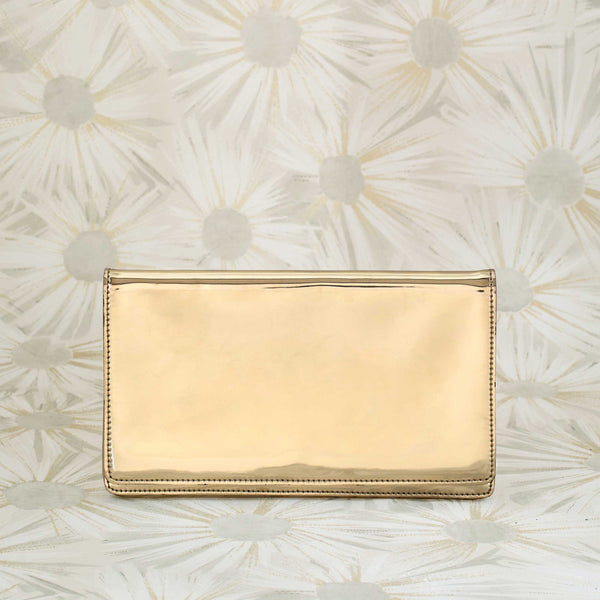 Patent Leather Clutch in Gold