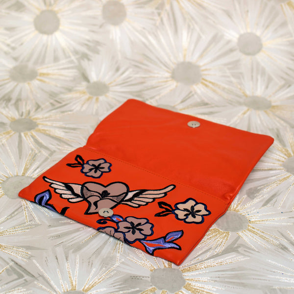 Paloma Leather Clutch in Orange