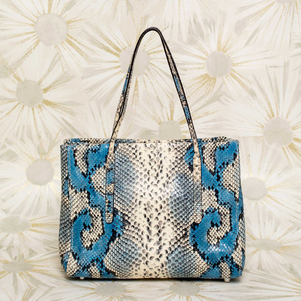 Python-Embossed Leather Petit Tote