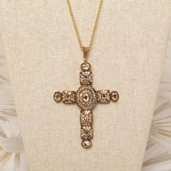 Byzantine Cross Necklace in Champagne