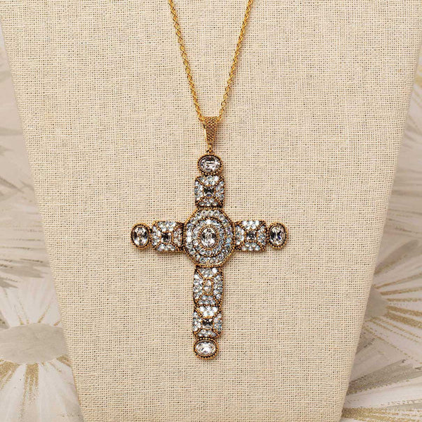 Byzantine Cross Necklace in White Diamond