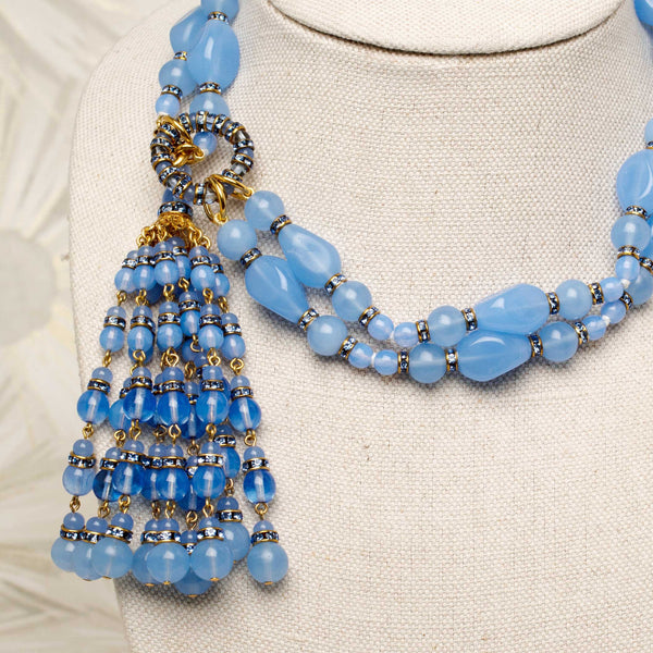 Tassel Necklace in Cornflower