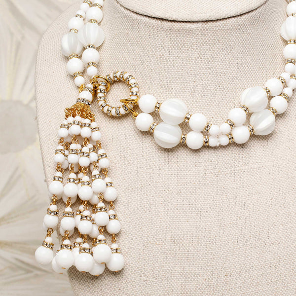Tassel Necklace in Alabaster