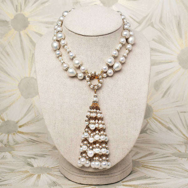 Tassel Necklace with White Pearls