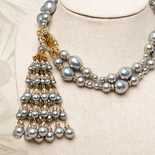 Tassel Necklace with Ice Blue Pearls