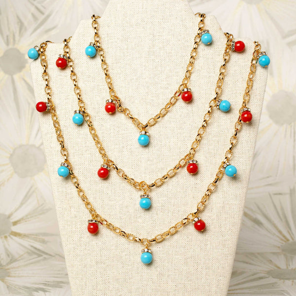 Confetti Necklace in Turquoise and Coral