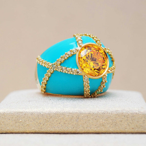 Harlequin Ring in Turquoise