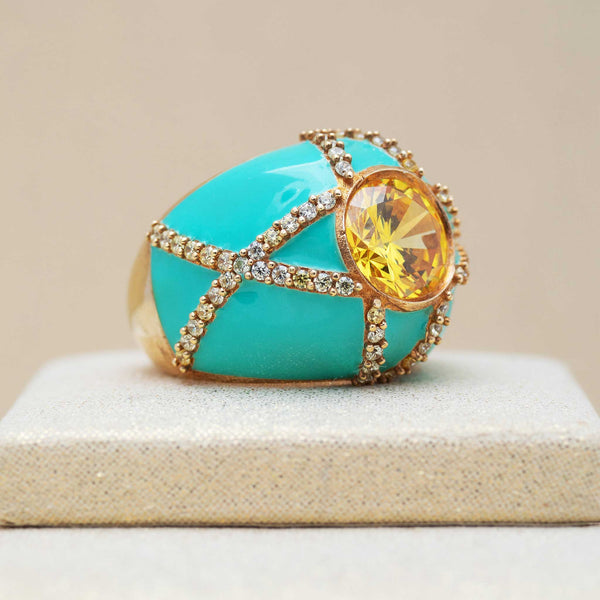 Harlequin Ring in Mint Green and Amber