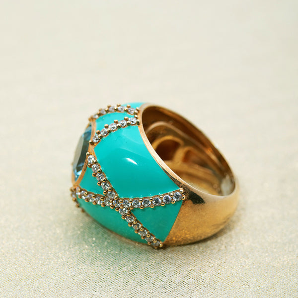 Harlequin Ring in Mint Green and Blue