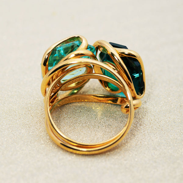 Double Beacon Ring in Emerald and Peridot