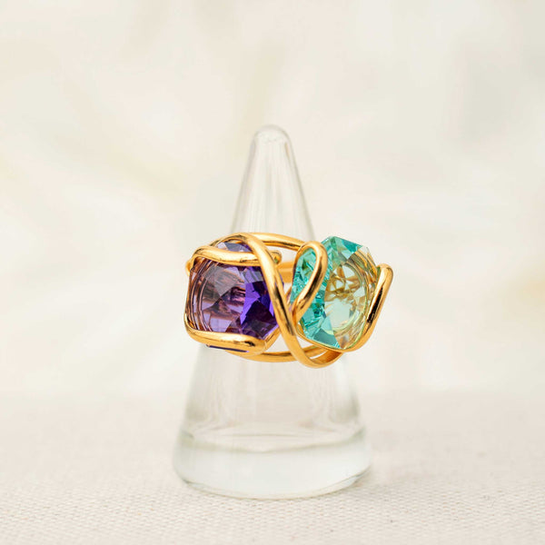 Double Beacon Ring in Amethyst and Peridot