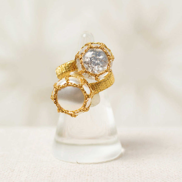 Colette Ring in White Diamond and Pearl