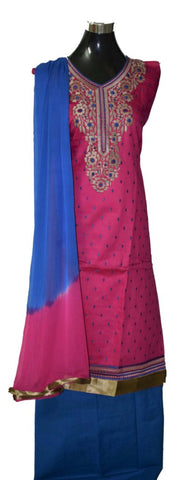 Pink and Blue cotton suit with georgette dupatta
