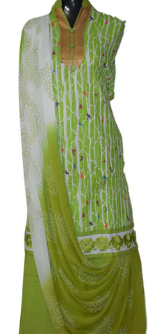 Green and White suit with printed georgette dupatta