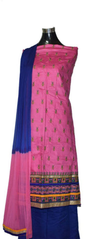 Pink and Royal blue Cotton Suit with matching georgette dupatta.