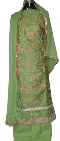 Pistachio green suit with matching dupatta