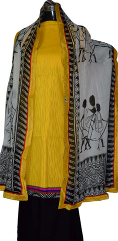 Yellow and Black suit with Dupatta