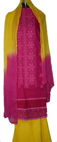 Pink and yellow suit with combination Georgette dupatta