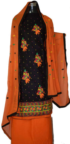 Black and Orange suit with georgette dupatta