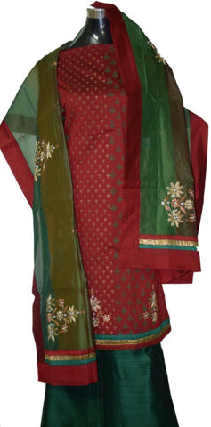 Maroon and Green Suit with heavy Raw silk dupatta