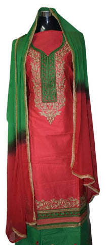 Peach and Green suit with contrast georgette dupatta