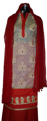 Tussar and Red suit with matching dupatta