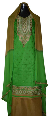 Green and Beige party wear suit with contrast georgette dupatta
