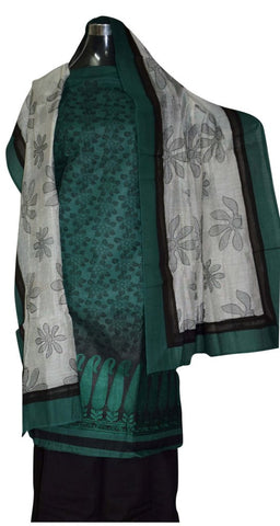Bottle green and Black suit with heavy white dupatta