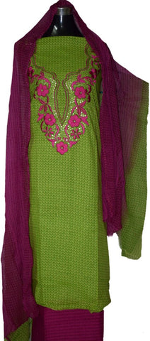 Parrot green and Purple suit with printed georgette dupatta.