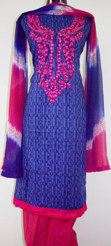Blue and Pink Embroidered Suit with Georgette dupatta