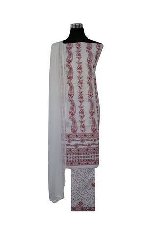 Three Piece Cotton Suit length with Red and Green Chikankari Work