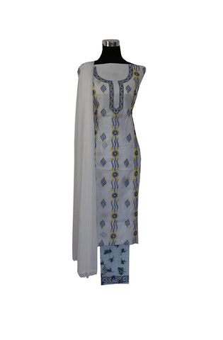 Three Piece Cotton Suit length with Blue and Yellow Chikankari Work