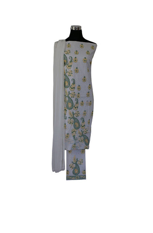 Three Piece  Cotton Suit length with Green and Yellow  Chikankari Work