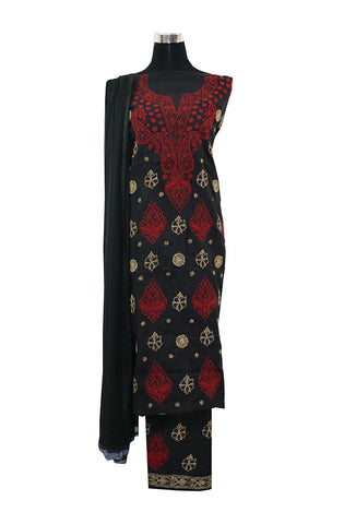 Three Piece Black Cotton Suit length with Red and White Chikankari Work
