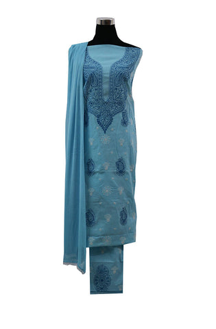 Three Piece Sky Blue Cotton Suit length with Blue and White Chikankari Work