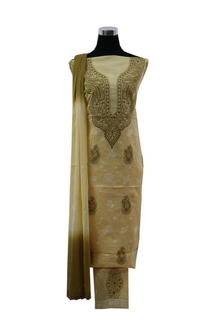 Three Piece  Yellow Cotton Suit length with Brown and White Chikankari Work