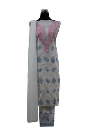 Three Piece  Cotton Suit length with Pink and Blue Chikankari Work