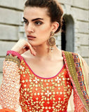 Orange Pink Designer Embroidered Silk Lehenga-Saira's Boutique