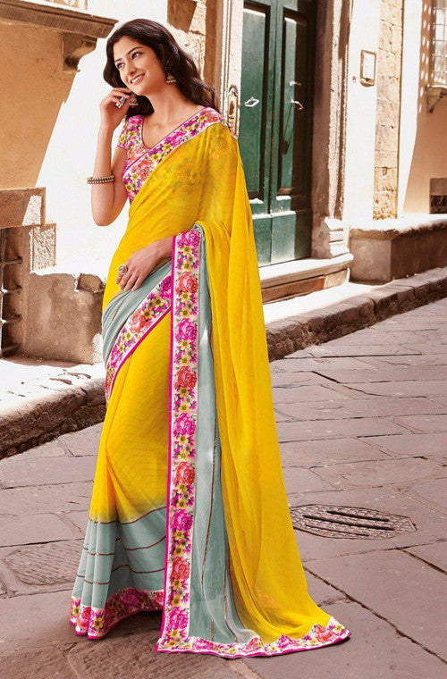 Yellow & Gray Faux Georgette Printed Saree - Saira's Boutique - 1