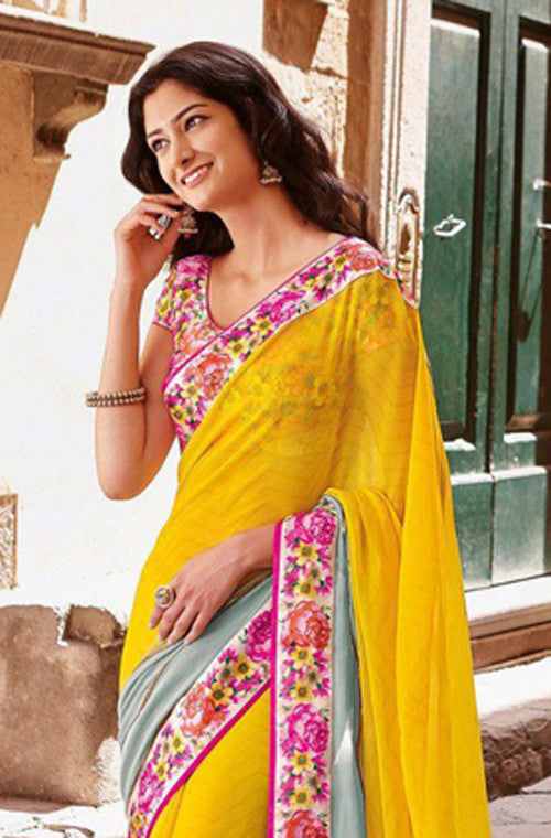 Yellow & Gray Faux Georgette Printed Saree - Saira's Boutique - 2