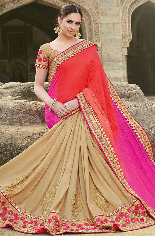 Beige & Shaded Pink Red Designer Embroidered Fancy Bridal Saree - Saira's Boutique - 5