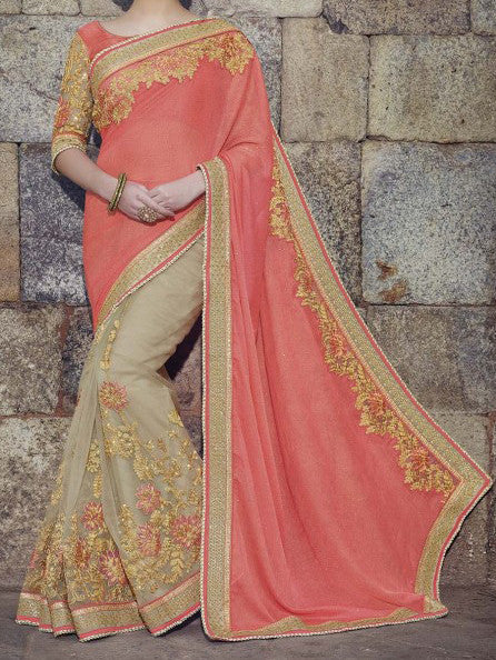 Coral Pink & Beige Designer Embroidered Fancy Bridal Saree - Saira's Boutique - 2