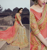 Coral Pink & Beige Designer Embroidered Fancy Bridal Saree - Saira's Boutique - 3