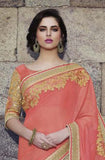 Coral Pink & Beige Designer Embroidered Fancy Bridal Saree - Saira's Boutique - 4