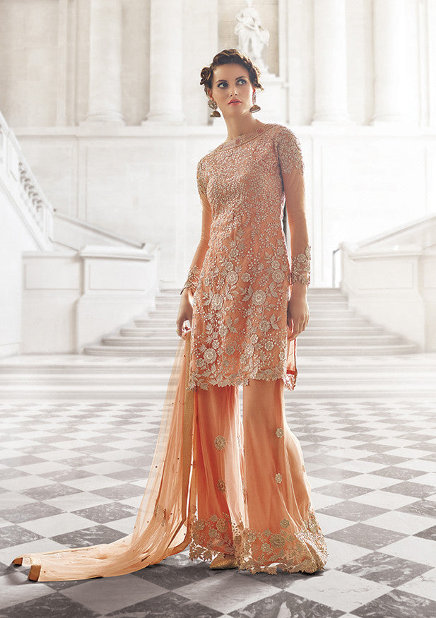 Peach Designer Bridal Georgette and Net Lehenga with BONUS Palazzo Pants-Saira's Boutique